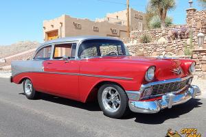 "56 Chevy 210 2dr Resto Mod GM 350 Edelbrock 4bbl 700R4 Ford 9"" A/C 4 Whl Disc PS"