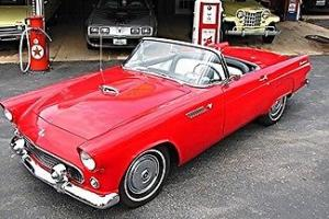 55 thunderbird t bird hard top flame red roadster power. Black Bedroom Furniture Sets. Home Design Ideas
