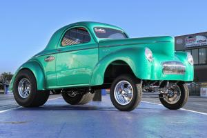 Willys : CUSTOM 1941 WILLYS GASSER STYLE COUPE IN GREEN METAL FLAKE GEL COAT