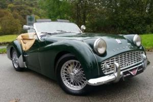 1961 Triumph TR3, British Racing Green, Chrome wires, ex concourse restoration, Photo