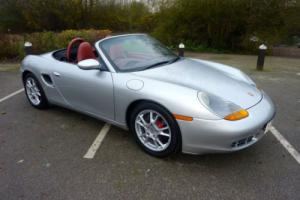PORSCHE BOXSTER 1998 - SILVER WITH BLACK ROOF CONTRASTING RED HIDE INTERIOR