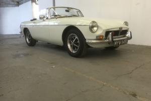 1972 MGB Roadster Finished in Glacier White with Black Leather Int 12 Mnth MOT