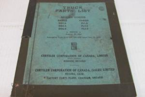 CHRYSLER TRUCK PARTS LIST 1945 DODGE DD1-S DD4-S DD6-S AND FARGO FL1-S FL4-S ETC