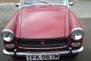 1974 MG MIDGET CHROME BUMPER/RWA IN DENMASK RED 74000 MLS