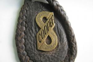 "Solid 9 CRT Gold Cooper ""S"" KEY Ring ON Leather PAD"