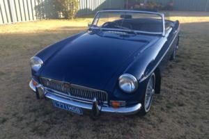 MGB Roadster MED Blue With Black Trim Last OF THE Chrome Override Bumper BAR Photo