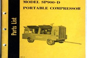 1961 MODEL SP900D PORTABLE COMPRESSOR PARTS LIST GARDNER-DENVER COMPANY