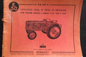 GENUINE 1950's RENAULT E30 TRACTOR PARTS CATALOG MANUAL ENGLISH FRENCH SPANISH
