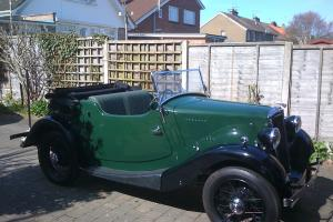Morris Eight, two seater open tourer, 1936 Series One, Green over Black