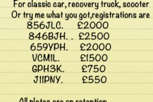 Jaguar,ford,mgb,triumph, cherished private plates