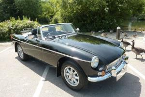 MGB ROADSTER 1978 BLACK/BLACK HIDE INTERIOR CHROME BUMPER CONVERSION STUNNING