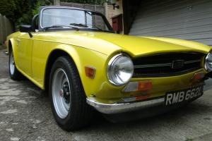 TRIUMPH TR6 1973 YELLOW ROAD TAX EXEMPT NEXT YEAR GALVANISED CHASSIS