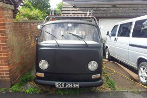 VW Type 2 camper in Satin black. Lots of modifications