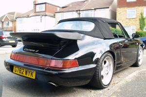 PORSCHE 911 CARRERA 2 CONVERTIBLE BLACK CREAM INTERIOR 1990 89200 Miles STUNNING