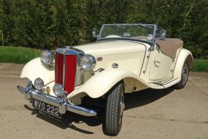 MG TD 1952. Restored, cream with red interior, 5 speed gearbox. Lovely example