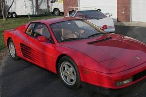 "1988 ferrari testarossa ""red head"" 12 cylinder red with tan interior ready drive"