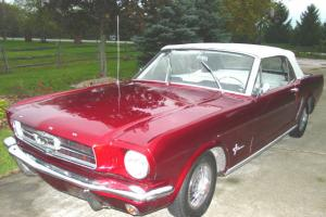 1964 1 2 Ford Mustang Convertible Candy Le Red White Interior 8l 1965 Photo