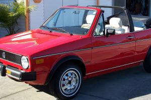 VW Rabbit Convertible Fully Restored Red with Black Top White Interior