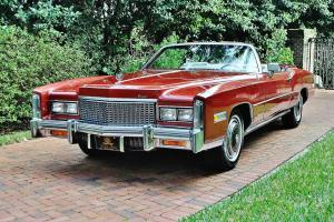 Firethorn red mint fuel injected 76 Cadillac Eldorado Convertible 27,558 miles.