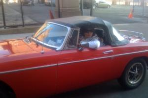 Red MGB classic car convertible 2 door
