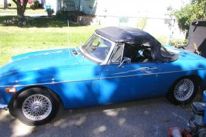1972 MGB blue wire wheels chrome bumpers ,new radio ,optional hardtop Photo