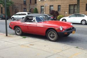Red MGB classic car convertible 2 door -