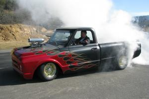 1968 Chevy shortwide, Blower, Matte black w/Red flames
