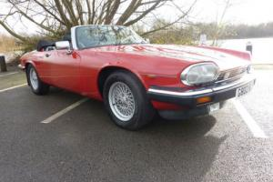 JAGUAR XJS CONVERTIBLE 1989 RED WITH BLACK POWER HOOD - BLACK/RED HIDE INTERIOR