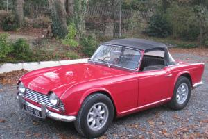 1963 classic British sports car triumph TR4 2138cc RHD VGC Red convertible MOT