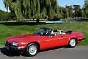 JAGUAR XJS CONVERTIBLE 1989 RED WITH BLACK POWER HOOD - Doeskin Leather Photo