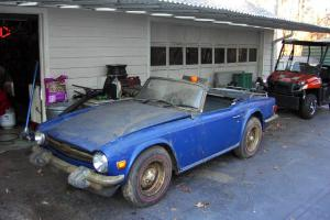 Barn Find 1975 Triumph Blue TR6 Roadster Easy Restoration 2 Owner Georgia Car