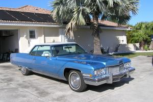 1973 Cadillac  Coupe de ville Baby Blue with White Leather Interior
