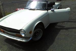 Newly restored White TR6 with custom Interior Photo
