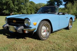 1975 Triumph TR6 Convertible Blue with black interior. Nice rust free