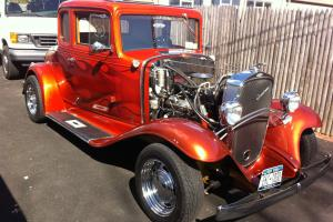 1932  chevy street rod coupe five window all steel body candy orange