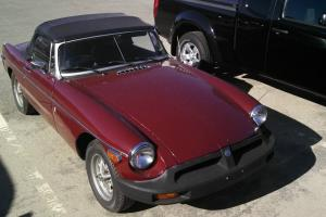 1977 MG MGB convertible 4 cylinder burgandy manual sports car collector Photo
