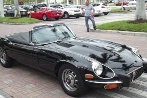 STUNNING 74 JAGUAR V12 ROADSTER WITH SOFT & HARDTOP. BLACK WITH TAN, CANVAS TOP. Photo