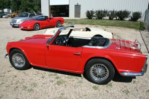 1964 Triumph TR 4, Low milage, Really nice RED/white top