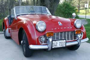 1960 Triumph TR-3, Original Owner, red, convertible