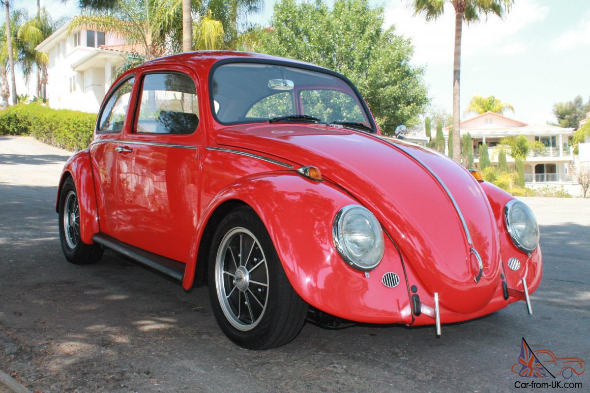 1966 Cal Look Vw Beetle California Black Plate Red Exterior Interior