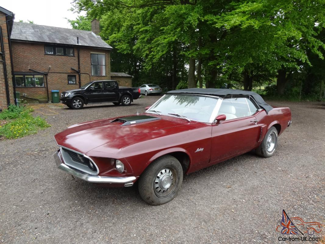 ford mustang 1969 convertable v8 gt wheels maroon paint. Black Bedroom Furniture Sets. Home Design Ideas
