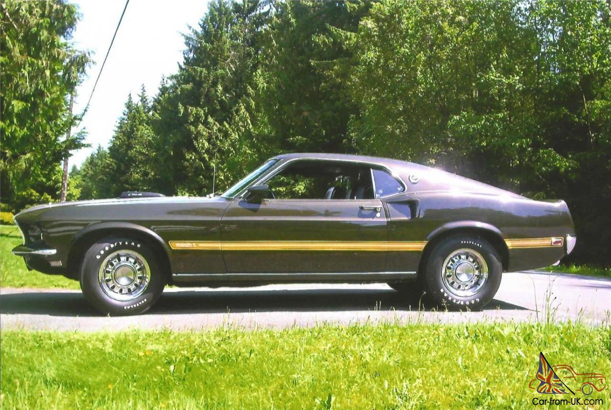 1969 ford mustang mach1 428 scj cobra jet r code mca concourse black jade manual
