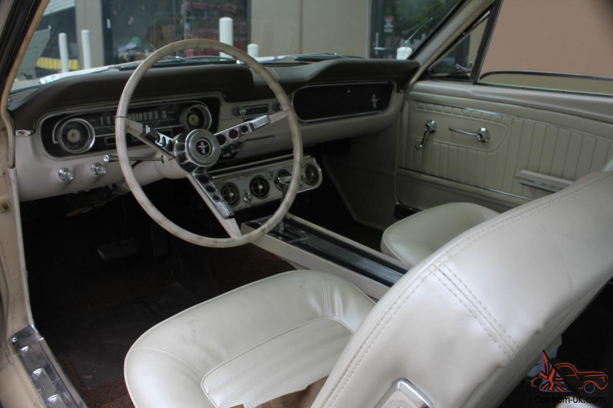 ford mustang 1965 coupe 289 auto beige with white interior. Black Bedroom Furniture Sets. Home Design Ideas