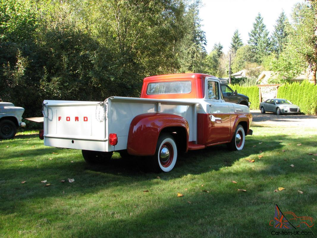 Fords Answer To 1957 Chevy 3100 Short Bed Cool Truck 1955 Ford F100 Moon Caps