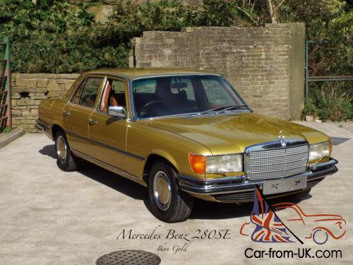 mercedes 280 se w116 1977 in gold metallic. Black Bedroom Furniture Sets. Home Design Ideas