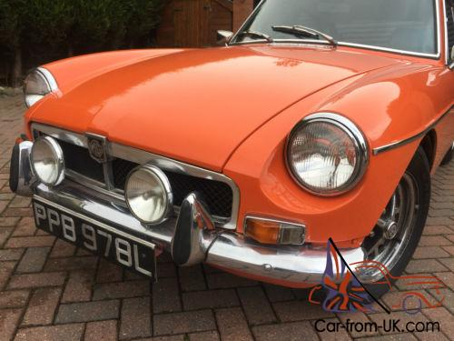 mgb gt classic 1973 bright orange with cool blue interior looks very funky. Black Bedroom Furniture Sets. Home Design Ideas