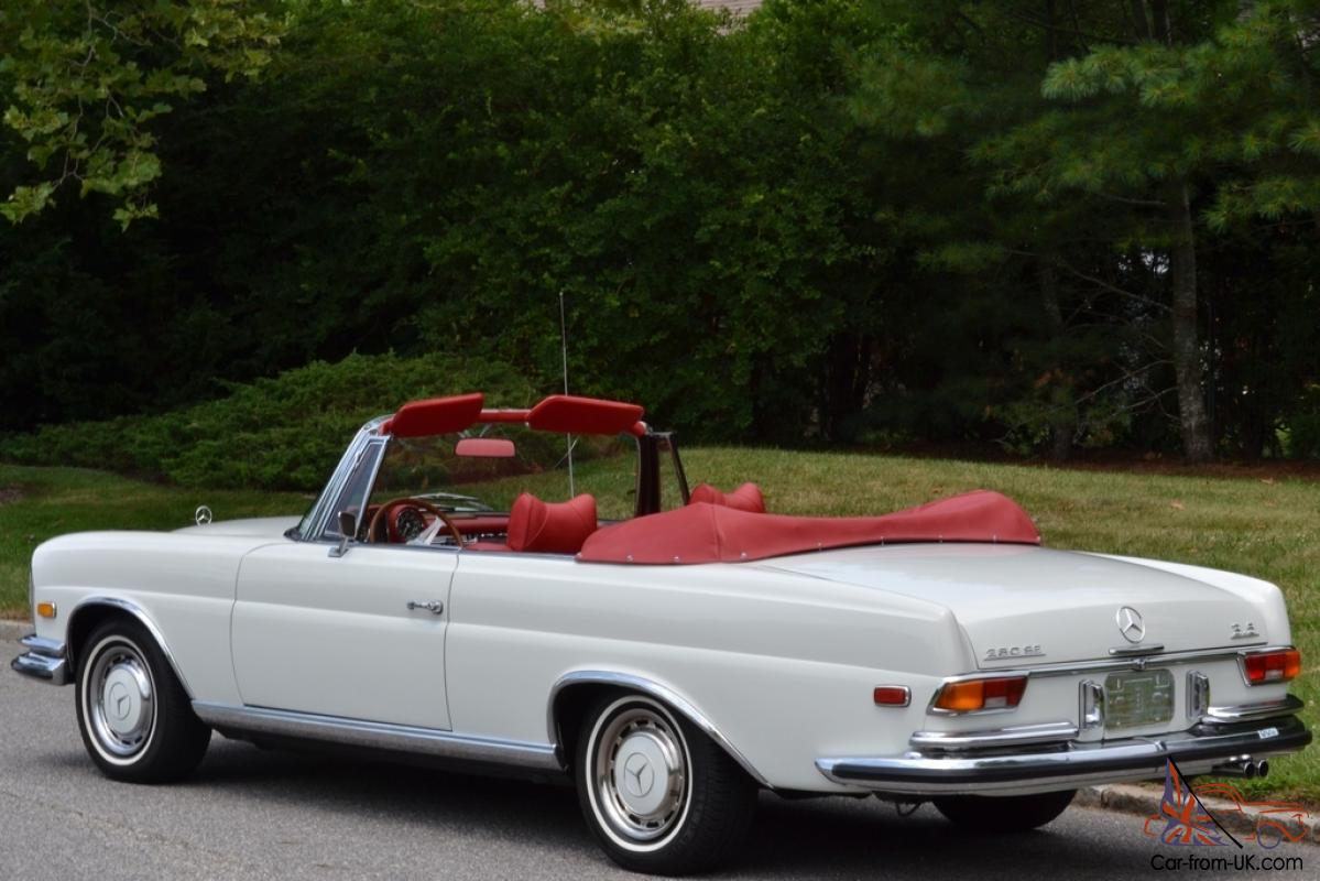 stunning restored 1971 white mercedes benz convertible. Black Bedroom Furniture Sets. Home Design Ideas