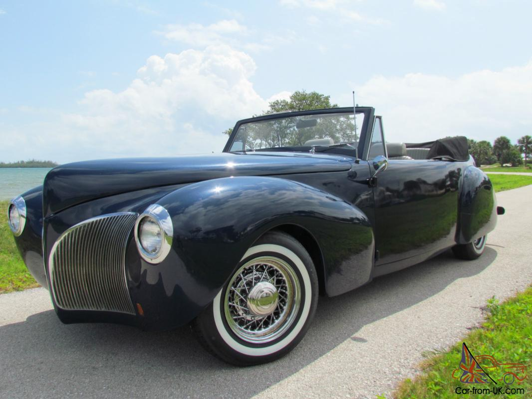 1940 Lincoln Continental Cabriolet Convertible Midnight Blue Metallic Rare Photo