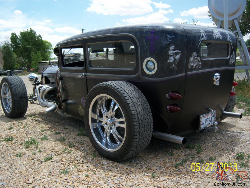 Hot Rod in a Rat Rod Style, 1930 Ford Tudor with custom paint job