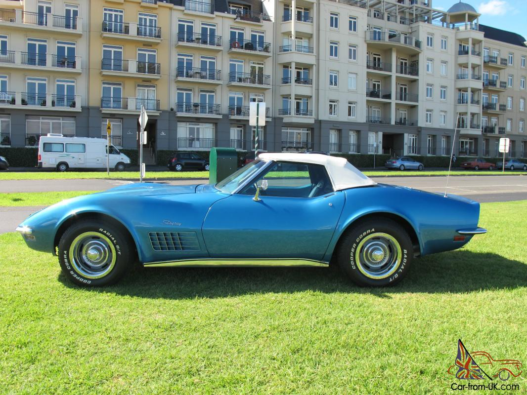 1971 Chevrolet Corvette Stingray Convertible Mulsane Blue Original Car 350 Chev Photo